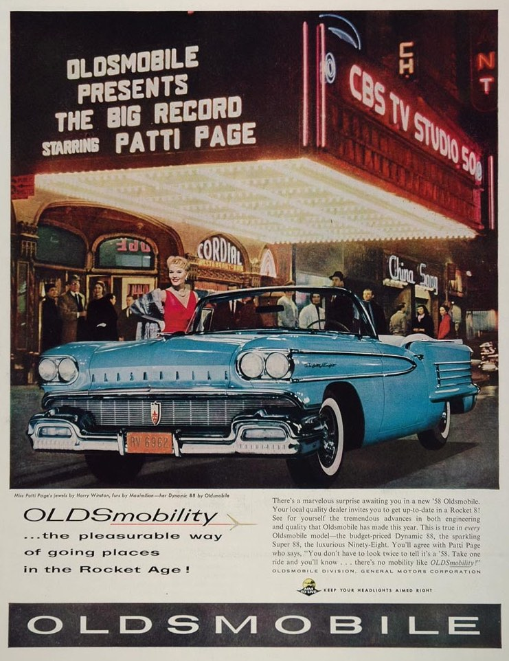 58 Oldsmobile print ads pulled out all the stops to finish ahead of all the other mid-priced rides that year! - Thanks to Old Car Advertising to providing this vintage ad!