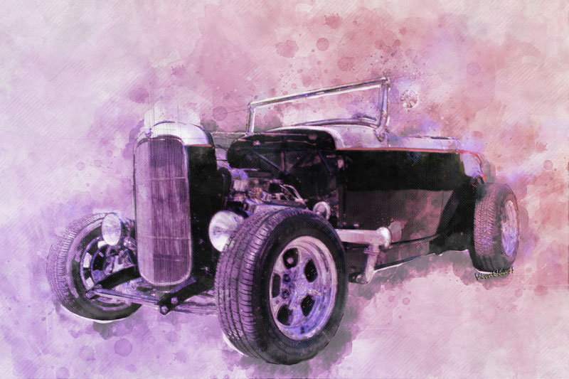 This 32 Ford Roadster in Black and Silver is a 2017 Watercolour from VivaChas - click the pix to shop for a print or swag!