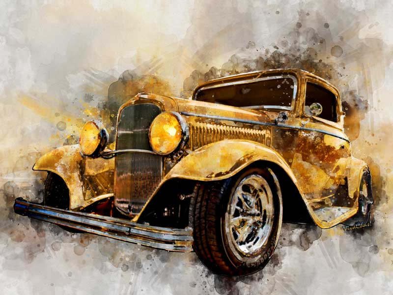Here's a 32 Ford Three Window Coupe one of the 2017 Watercolours in this series - Click the image to see more!