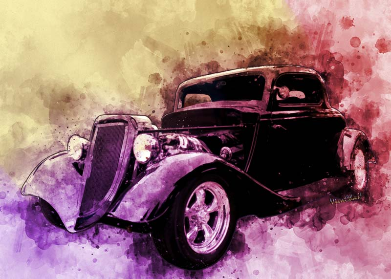 2017 Watercolours - 34 Ford Three Window Couple Street Rod - Bewdy of a ride - click it to see more about it!