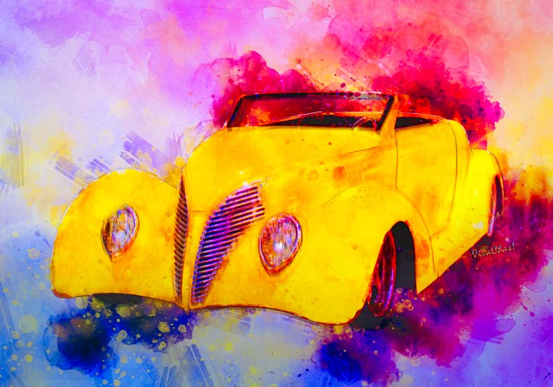 2017 Watercolours from Chas includes this spectacular 37 Ford Roadster in Yellow - Go have a look at getting a mug sporting this ride!