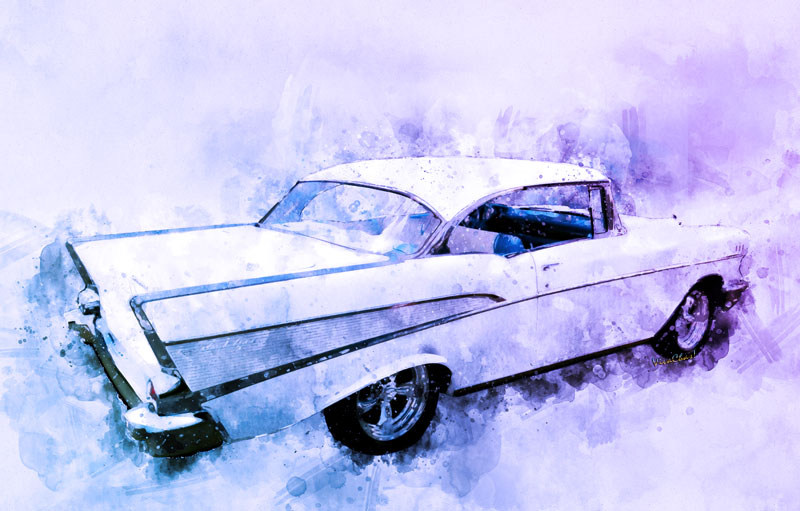 2017 Watercolours from VivaChas includes this Classic 57 BelAir Hardtop! - This one has your name on it - Click to shop!