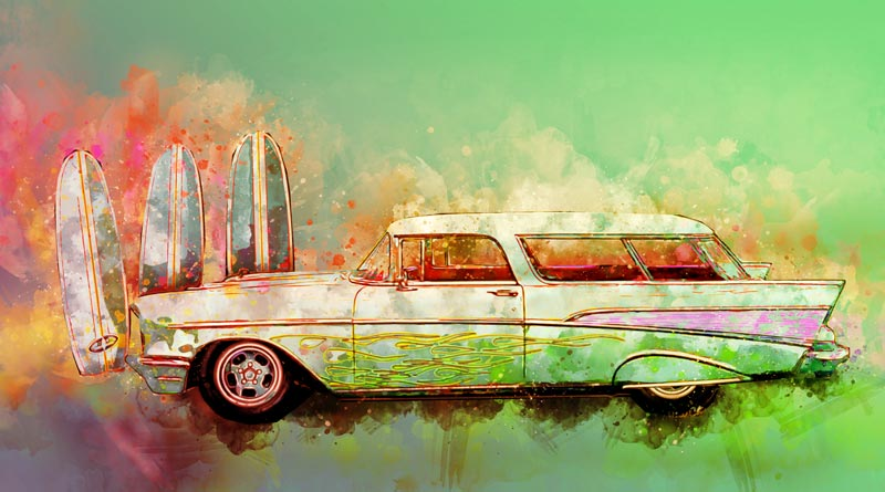 2017 Watercolours Part One concludes with the 57 Chevy Nomad! - What a rare breed! - Click the pix to shop the art!