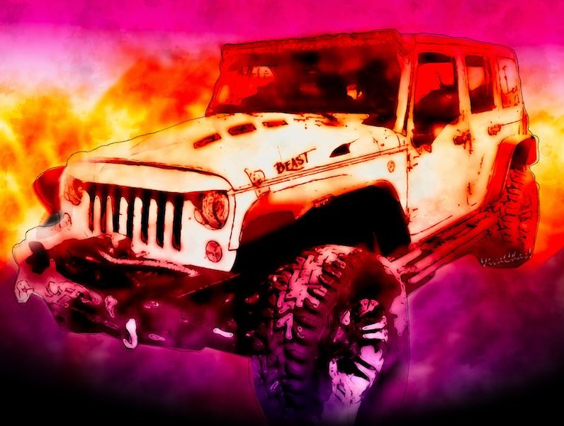 Watercolour print of 2017 Jeep Unlimited - The Beast!! - See it larger by clicking the image! ~;0)