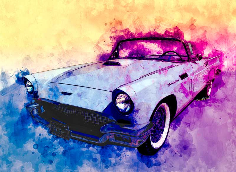 Watercolour of 57 Thunderbird from VivaChas - Click the image for larger view and to shop for your product!