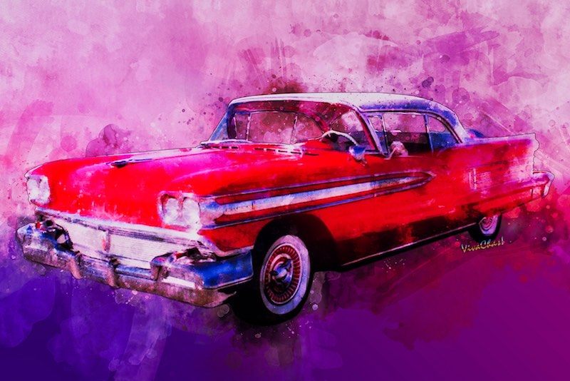 Watercolour of the 1958 Oldsmobile Classic ride from VivaChas available as prints and other swag by clicking the image