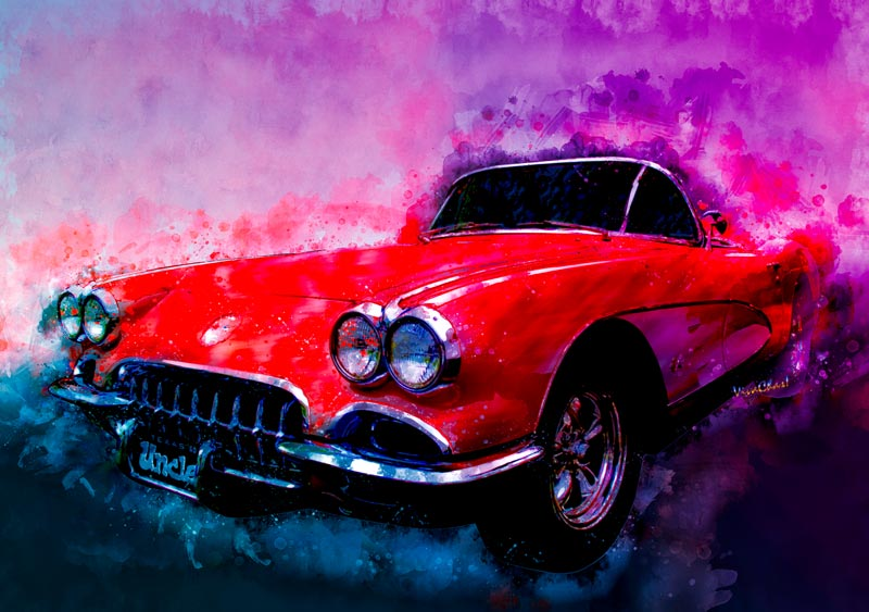 1960 Red Corvette Watercolour is king of the early vettes! Click the pix to shop for your archival print of this ride! - Get the Mug! ~;0)