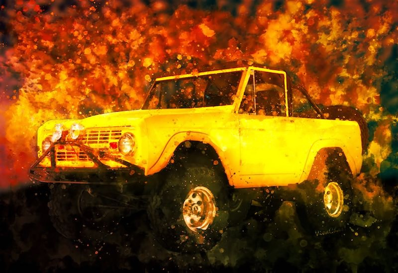 1969 Yellow Bronco Watercolour of the classic 4x4 comes on canvas, photo paper and archival as well as metal and acrylic! - Click the image to shop!