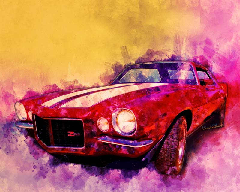 1971 Z28 Camaro Watercolour print is fab! Click the image to shop for swag!!
