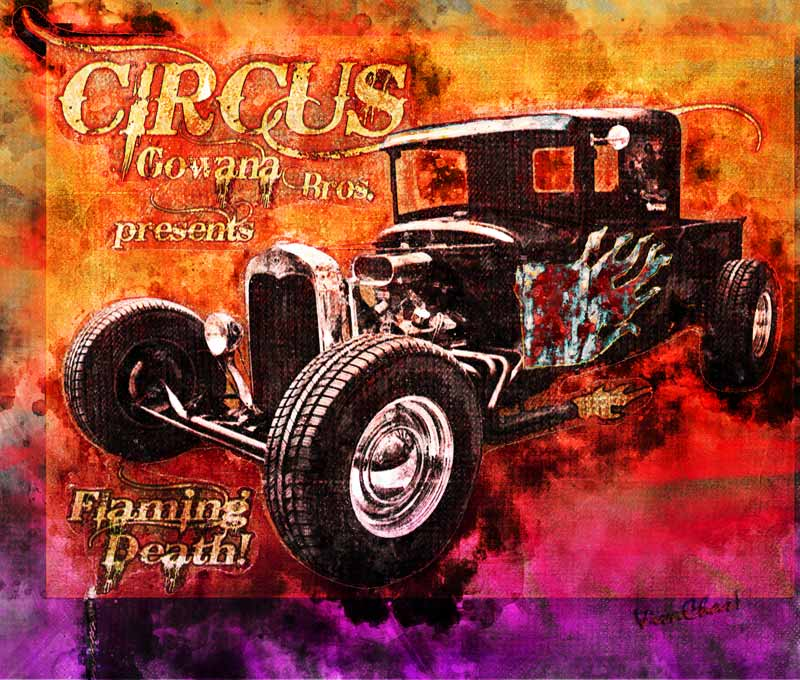 Watercolour of the Circus Gowana Bros poster from VivaChas! Click the flaming pix to see it flaming larger! ~;0)